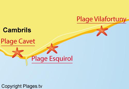 Carte de la plage d'Esquirol à Cambrils