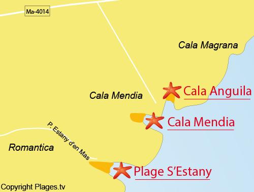 Carte de la plage de Romantica à Majorque