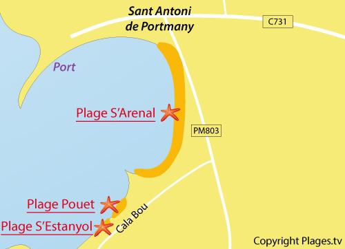 Carte de la plage Estanyol à Sant Josep de sa Talaia - Ibiza