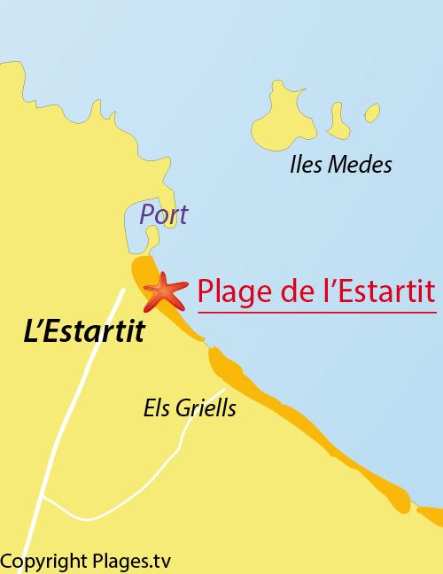 Carte de la plage de l'Estartit en Espagne