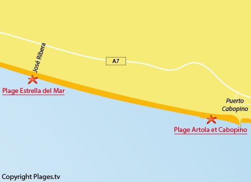 Carte de la plage d'Estrella del Mar à Marbella