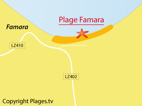 Map of Famara beach in Lanzarote
