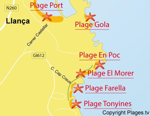Carte de la plage de Farella à Llança