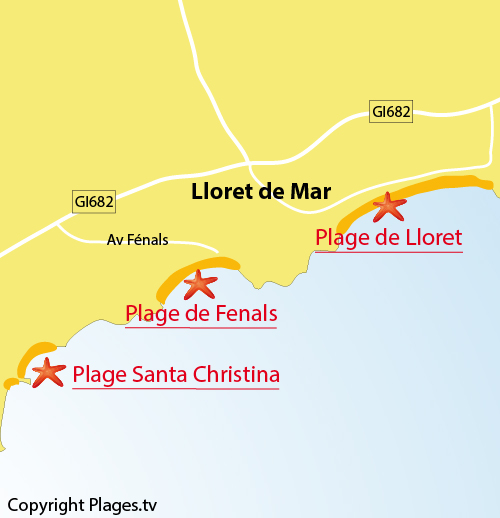Map of Fenals Beach in Lloret de Mar in Spain