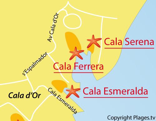 Carte de la plage de Cala Ferrera à Cala d'Or