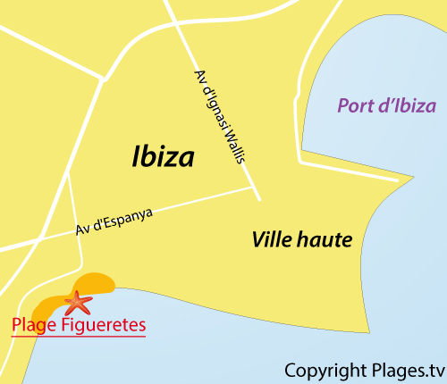 Map of Figueretes Beach in Ibiza - Spain