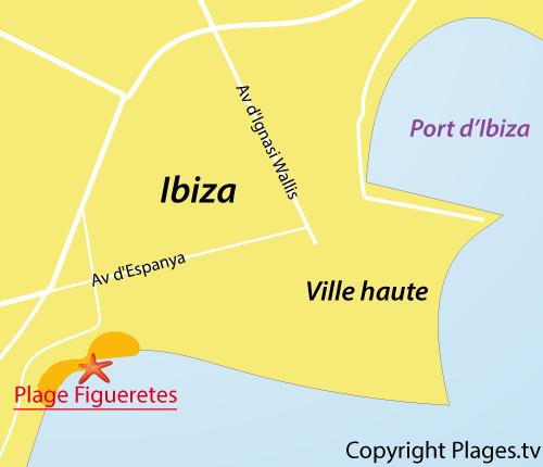 Carte de la plage de Figueretes en Espagne