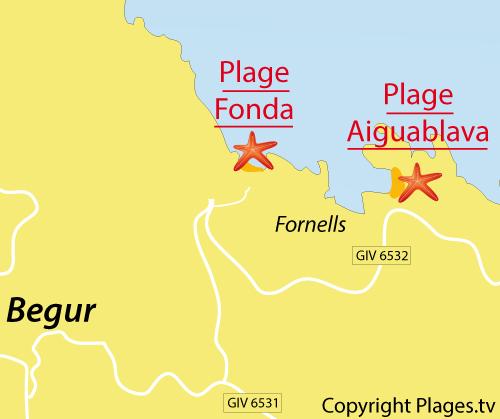 Carte de la plage de Fonda à Begur