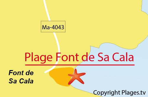 Carte de la plage de Font de sa Cala à Majorque