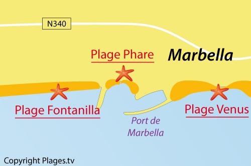 Carte de la plage de Fontanilla à Marbella