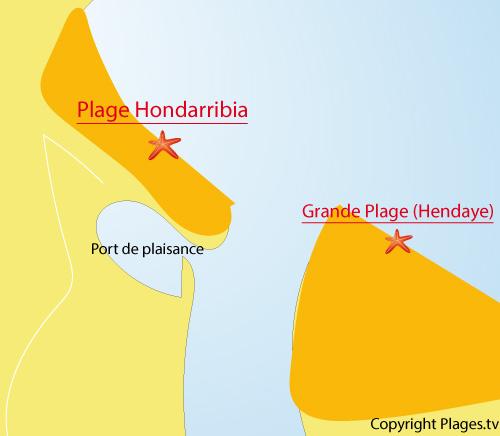 Carte de la plage de Fontarrabie - Espagne
