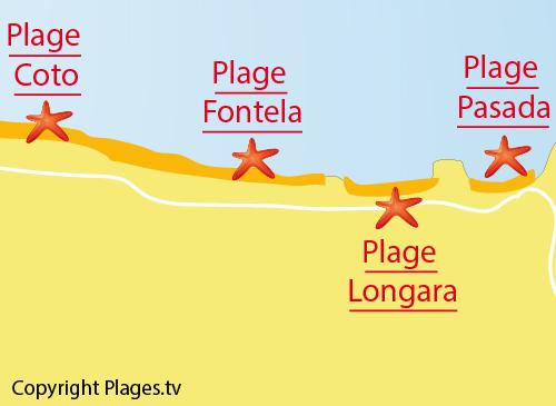 Carte de la plage de Fontela en Galice en Espagne