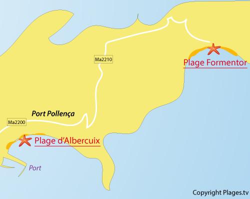 Carte de la plage de Formentor à Pollença - Majorque - Baléares