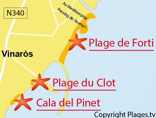 Carte de la plage du Forti à Vinaros en Espagne