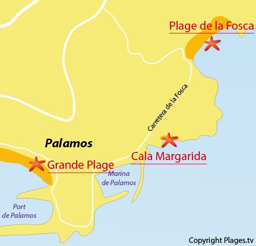 Carte de la plage de Fosca à Palamos en Espagne