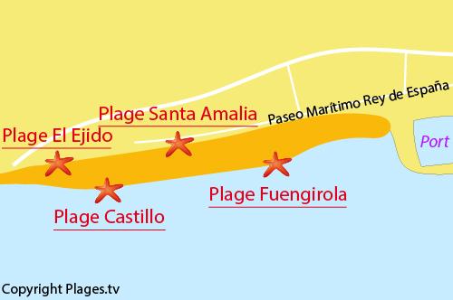 Carte de la plage de Fuengirola en Espagne