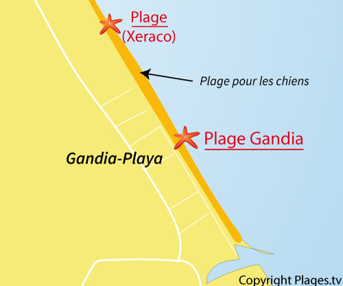 Carte de la plage de Gandia en Espagne