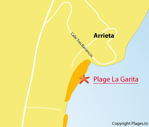 Carte de la plage de La Garita à Arrieta - Lanzarote