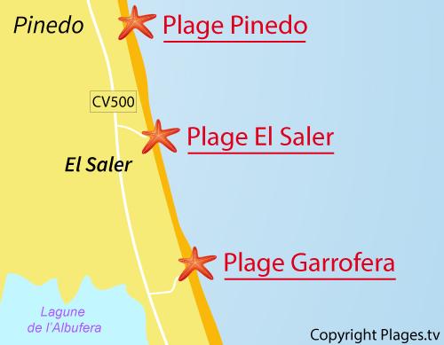Carte de la plage de Garrofera à El Saler en Espagne