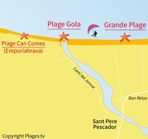 Carte de la plage de la Gola - Sant Pere Pescador