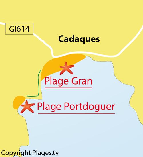 Carte de la Grande plage de Cadaques