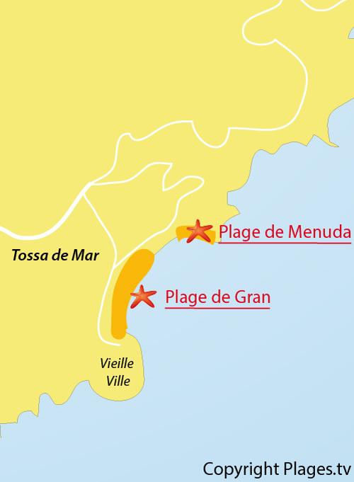Carte de la plage de Gran dans le centre de Tossa de Mar