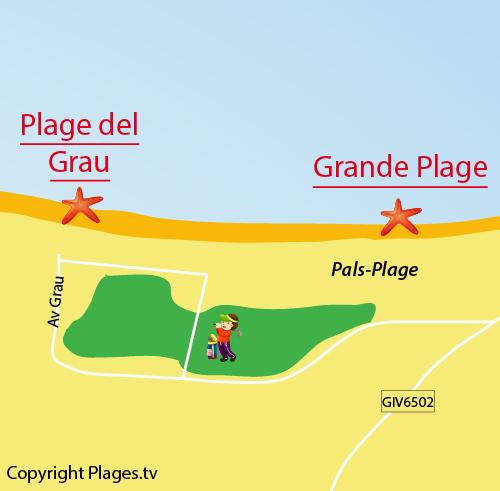 Carte de la plage du Grau à Pals - Espagne