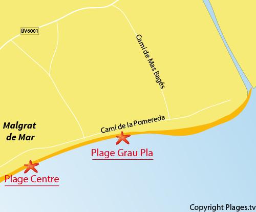 Carte de la plage de Grau Pla à Malgrat de Mar