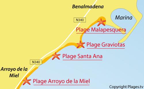 Carte de la plage de La Graviotas à Benalmadena
