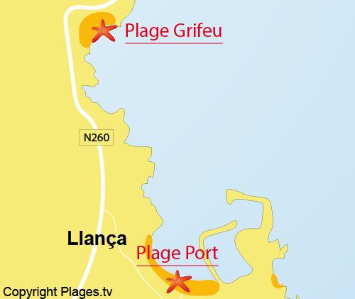 Carte de la plage de Grifeu à Llança - Espagne