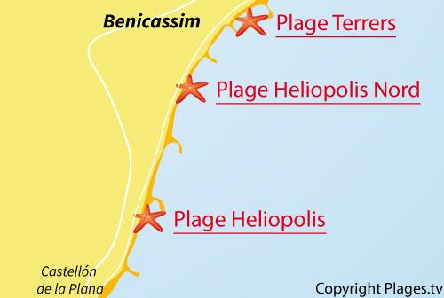 Carte de la plage Heliopolis à Benicassim