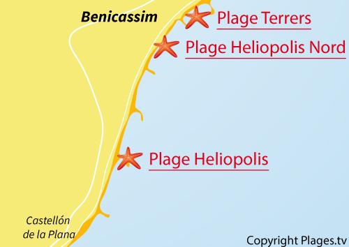 Carte de la plage Nord d'Heliopolis à Benicasim - Espagne