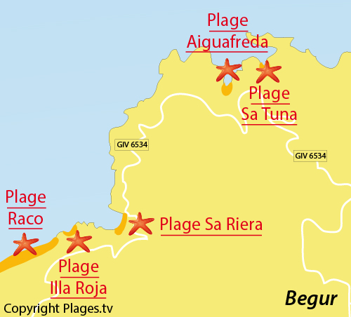 Map of Illa Roja Cove in Begur - Spain