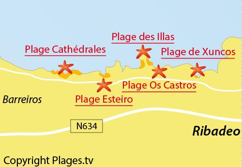 Carte de la plage des Illas à Ribadeo - Espagne
