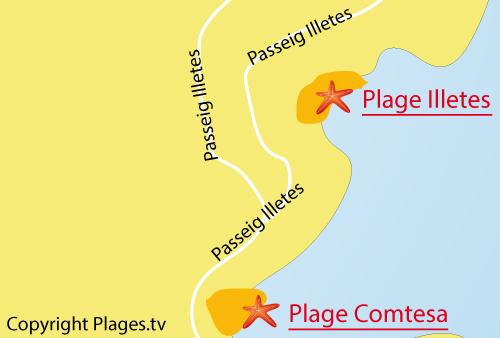 Carte de la crique Illetes à Majorque