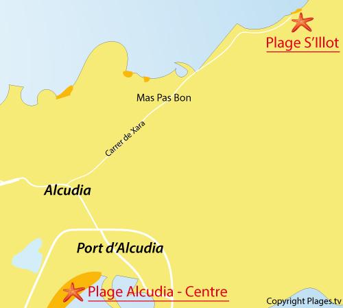 Carte de la plage de l'ilot à Alcudia - Baléares
