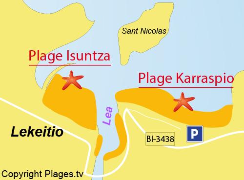 Carte de la plage d'Isuntza - Lakeitio