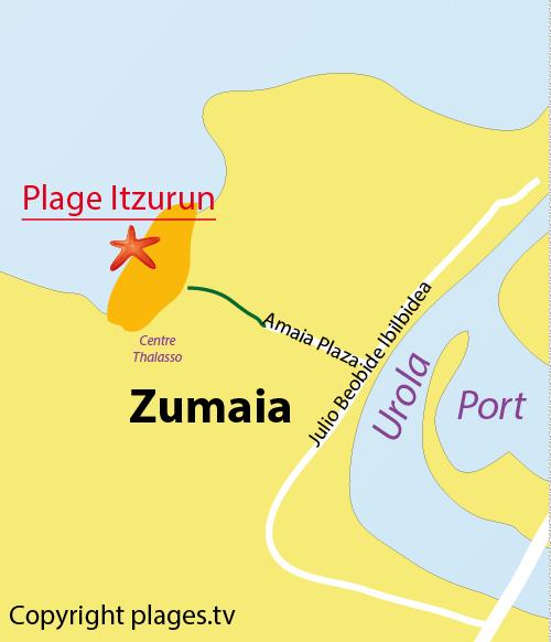 Carte de la plage d'Itzurun en Espagne