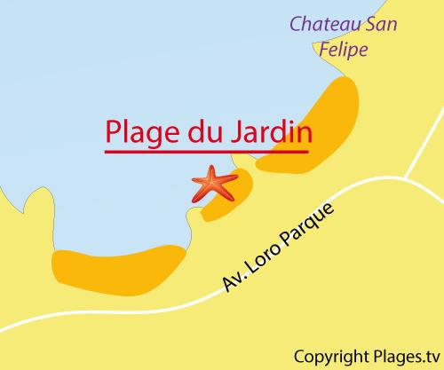 Carte de la plage du Jardin à Puerto de la Cruz