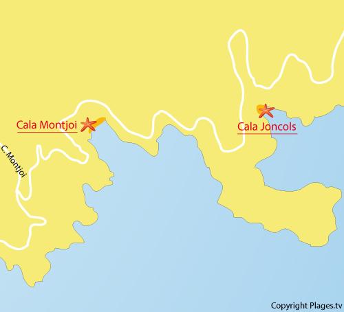 Carte de la Cala Joncols à Roses - Espagne