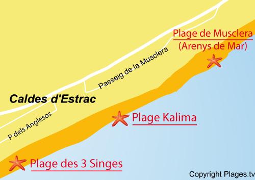 Carte de la plage de Kalima - Caldes d'Estrac