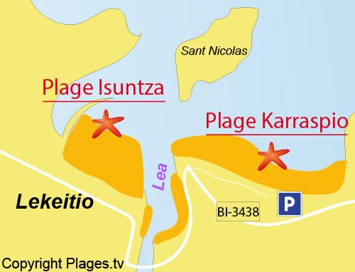 Carte de la plage de Karraspio - Pays Basque