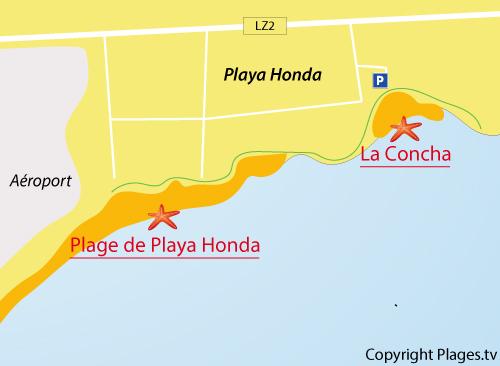Map of La Concha Beach - Lanzarote