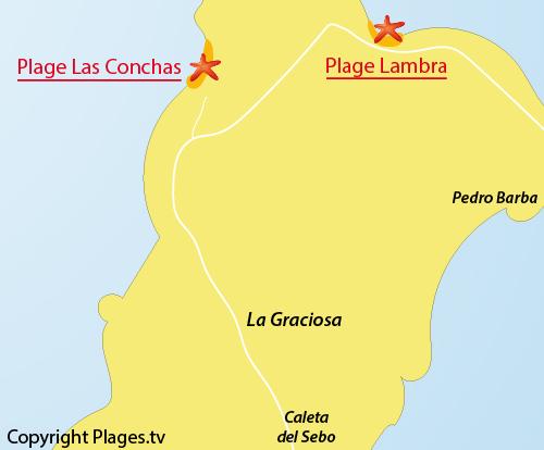 Carte de la plage de Lambra à La Graciosa - Lanzarote