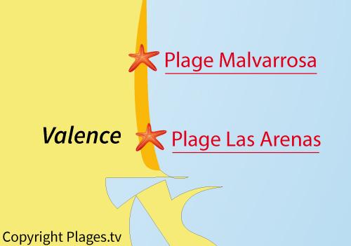 Carte de la plage de Las Arenas à Valence