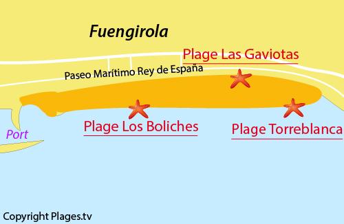 Carte de la plage de Las Gaviotas à Fuengirola