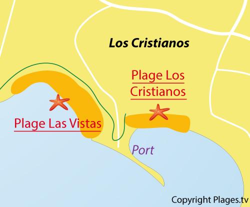 Carte de la plage de Las Vistas de Los Cristianos - Tenerife