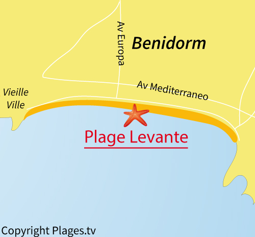 Carte de la plage de Levante à Benidorm