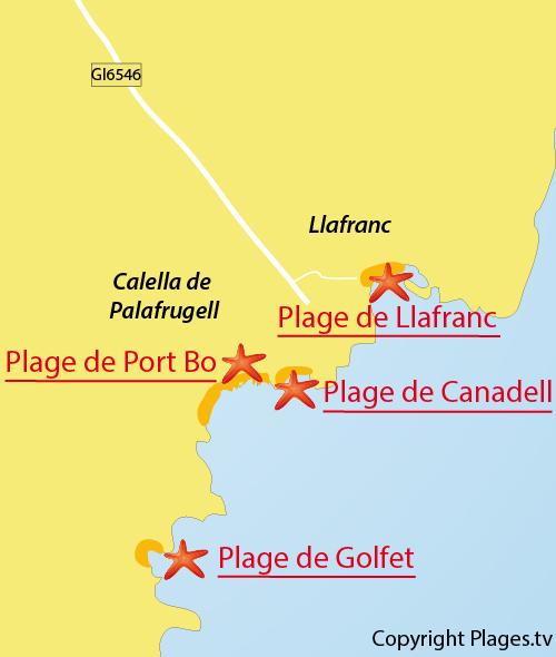Carte de la plage de Llafranc à Palafrugell - Espagne