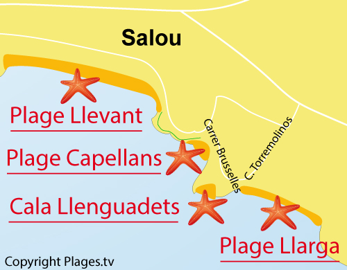 Carte de la plage de Llarga à Salou